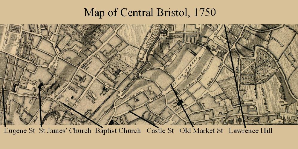 Central Bristol in 1850
